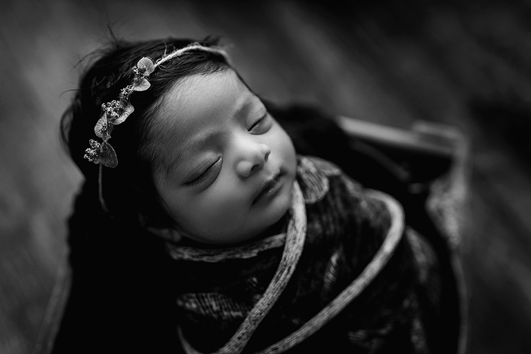 black and white swaddled newborn raleigh photographer