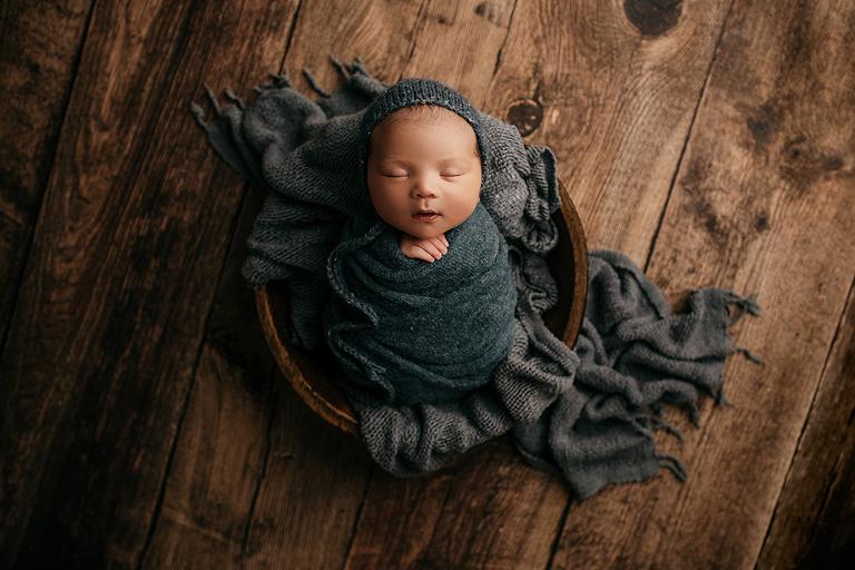 dark blue newborn swaddle
