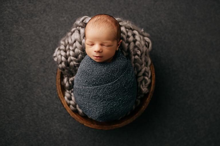 swaddled baby boy