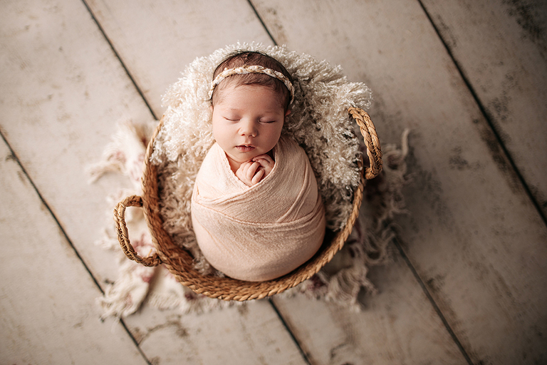 swaddled baby in basket apex nc